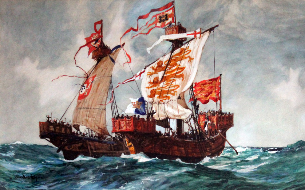 watercolour painting of two 15th century ships in battle