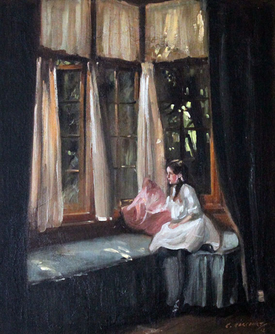 oil painting of girl looking out from window seat