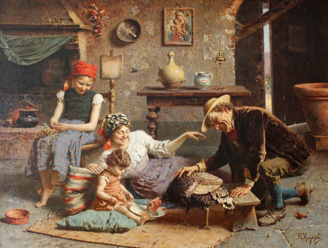 happy family in Italian kitchen in the year 1900, feeding a hungry turkey