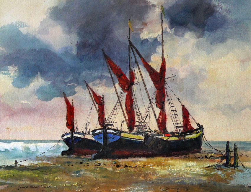 painting of two Thames sailing barges on shingle at Maldon, Essex