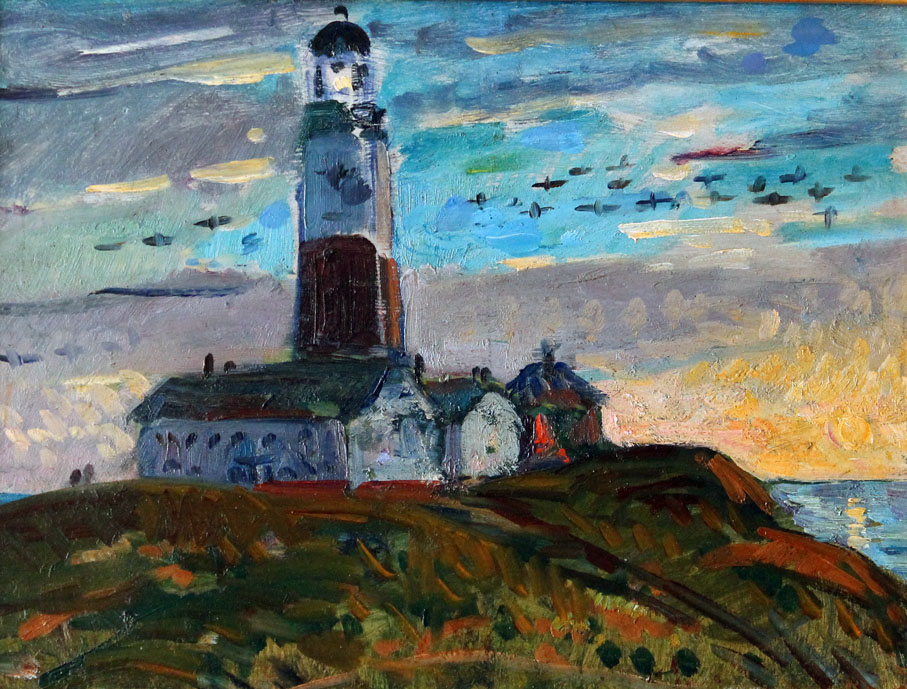 oil painting of the lighthouse at Montauk Point, Long Island, New York