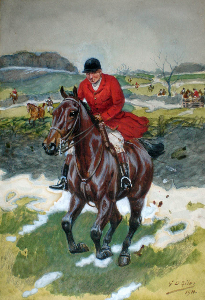 painting of a squire on a galloping horse