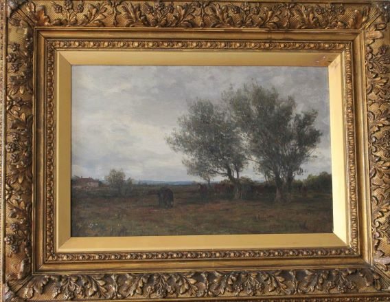 old oil painting showing horses grazing framed in exhibition frame