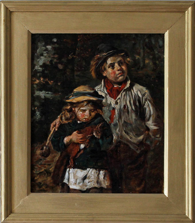 john emms (artist) painting of a boy carrying a sling and a girl carrying a red squirrel