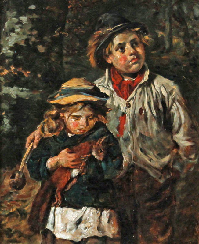 painting of the red squirrel being carried by girl and his brother looking guilty