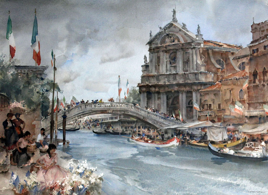 watercolour painting of busy festival in Venice