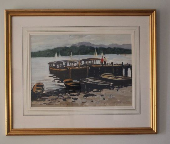 watercolour showing boats on Lake Windermere in Lake District
